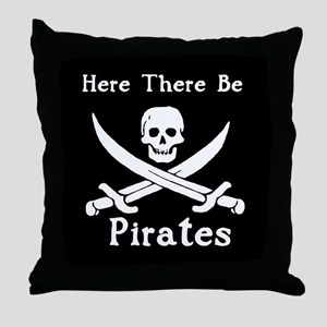 Here There Be PiratesThrow Pillow