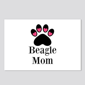 Beagle Mom Paw Print Postcards (Package of 8)