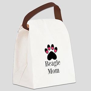 Beagle Mom Paw Print Canvas Lunch Bag