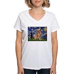 Starry Night Golden Women's V-Neck T-Shirt