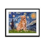 Starry Night Golden Framed Panel Print