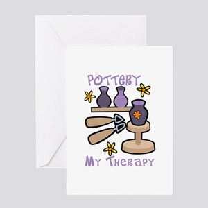 Pottery My Therapy Greeting Cards