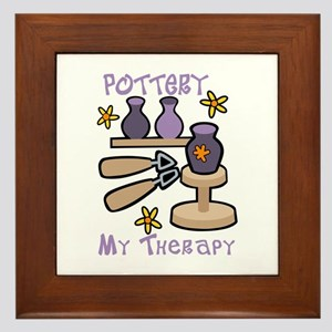 Pottery My Therapy Framed Tile