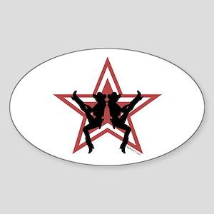 Star Cowgirls Red Oval Sticker