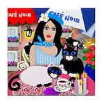GIRL & 4 CATS PARIS CAFE Tile Coaster