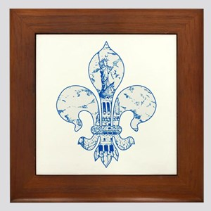 Fleur Statue of Liberty (blue) Framed Tile