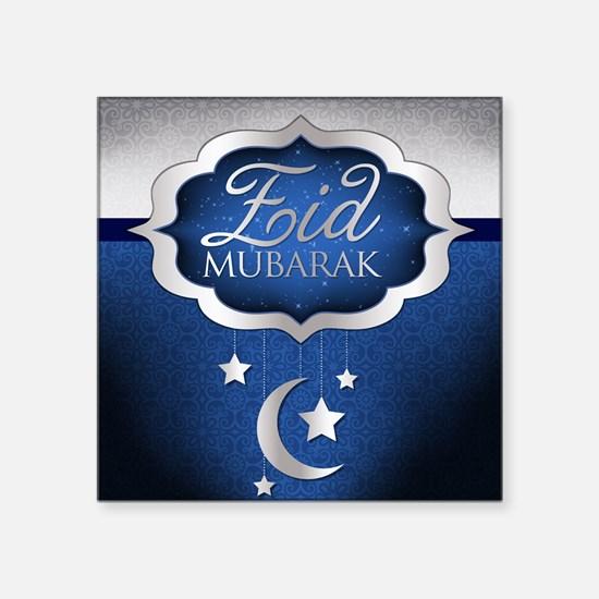 "Royal Blue Eid Mubarak Square Sticker 3"" x 3"""