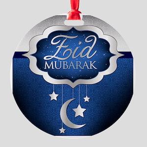Royal Blue Eid Mubarak Round Ornament