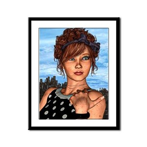 Retro Girl Framed Panel Print