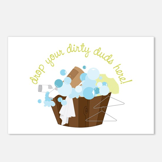 Drop Your Dirty Duds Here! Postcards (Package of 8