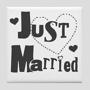 Just Married Black Tile Coaster