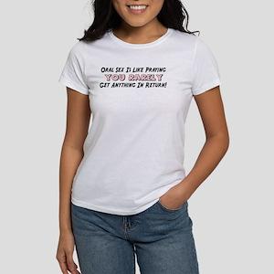 """Oral Sex Is Like Praying"" Women's T-Shirt"