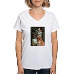 Ophelia & Golden Retriever Women's V-Neck T-Shirt