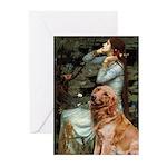 Ophelia & Golden Retriever Greeting Cards (Pk of 1