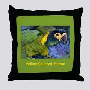 Yellow Collared Macaw Throw Pillow
