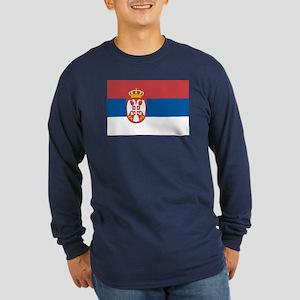 Serbian flag Long Sleeve Dark T-Shirt