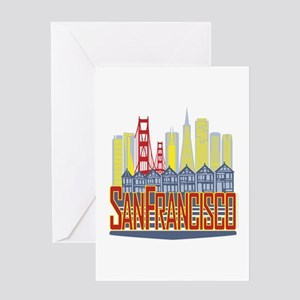 SF Golden Skyline Greeting Cards