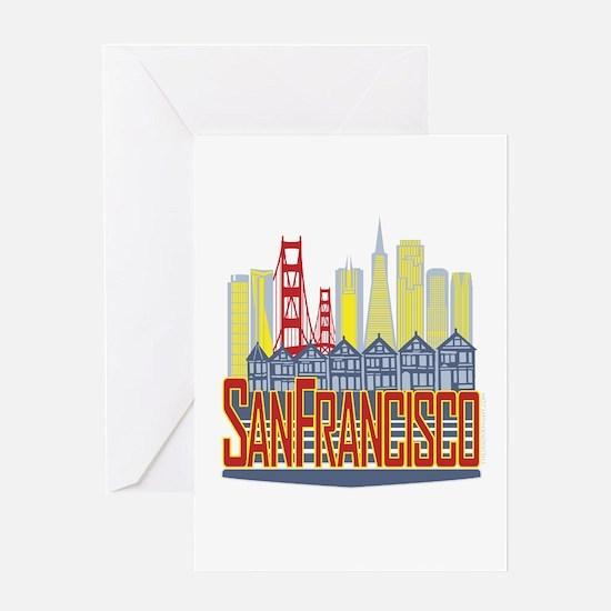 SF Golden Skyline Greeting Cards