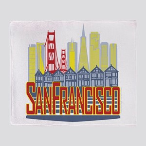SF Golden Skyline Throw Blanket