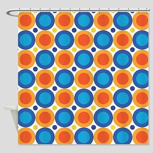 Circle Dots Orange Blue Shower Curtain