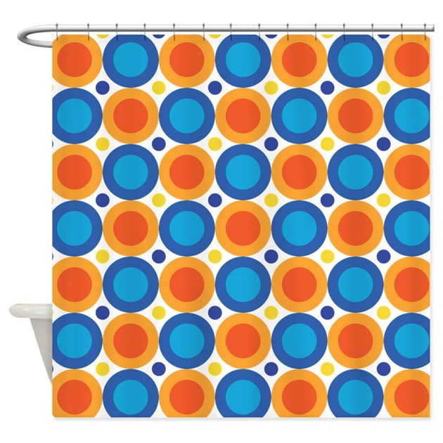 circle dots orange blue shower curtain by mainstreethomewares. Black Bedroom Furniture Sets. Home Design Ideas