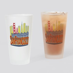 SF Golden Skyline Drinking Glass
