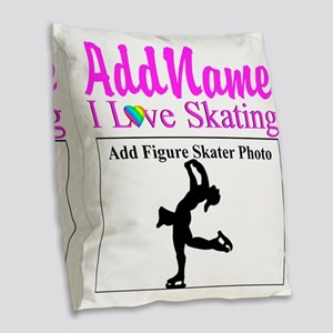 SUPER STAR SKATER Burlap Throw Pillow