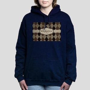 Brown Argyle Monogram Name Women's Hooded Sweatshi