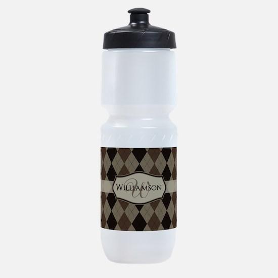 Brown Argyle Monogram Name Sports Bottle