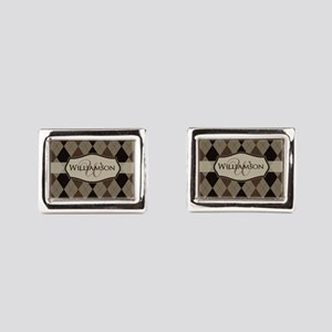 Brown Argyle Monogram Name Rectangular Cufflinks