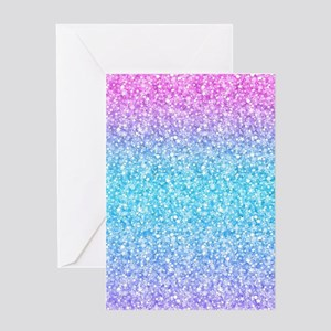Colorful Retro Glitter And Sparkles Greeting Cards