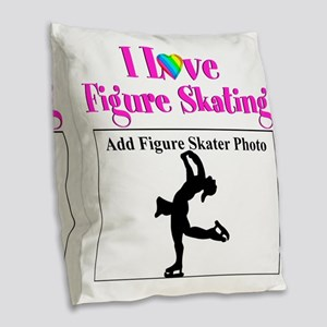 CHAMPION SKATER Burlap Throw Pillow