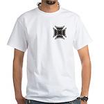 Chrome Flame Biker Cross White T-Shirt