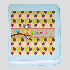 Owl On Branch Over Leaves Personalized baby blanke