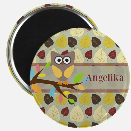 Owl On Branch Over Leaves Personalized Magnets