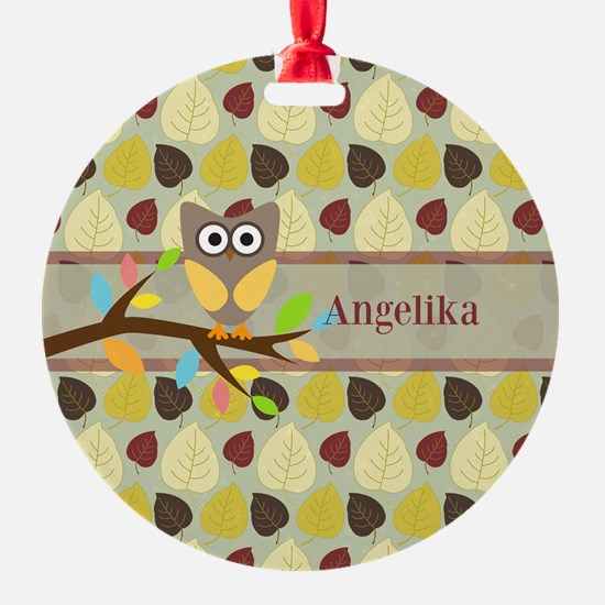 Owl On Branch Over Leaves Personalized Ornament