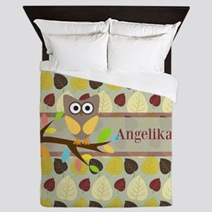 Owl On Branch Over Leaves Personalized Queen Duvet