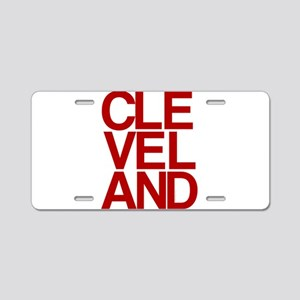 Cleveland Red Bold Typographic Aluminum License Pl