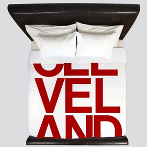Cleveland Red Bold Typographic King Duvet