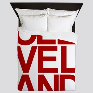 Cleveland Red Bold Typographic Queen Duvet