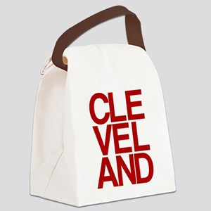 Cleveland Red Bold Typographic Canvas Lunch Bag