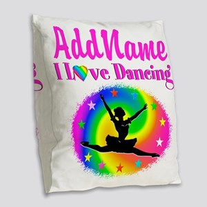 DAZZLING DANCER Burlap Throw Pillow