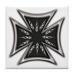 Chrome Flame Biker Cross Tile Coaster
