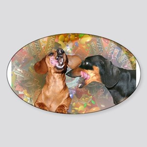Candy Stars Dachshund Dogs Oval Sticker