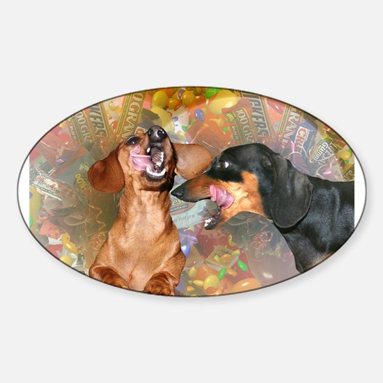 Candy Stars Dachshund Dogs Oval Decal