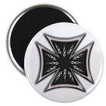 Chrome Flame Biker Cross Magnet