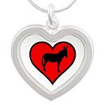 Donkey Love Silver Heart Necklace