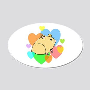 Hamster Hearts 20x12 Oval Wall Decal