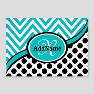 Teal Chevron Black Dots Monogram 5'x7'Area Rug