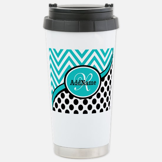 Teal Chevron Black Dots Stainless Steel Travel Mug
